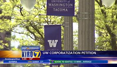 Image: KIRO morning news coverage of petition delivery to Gov. Inslee