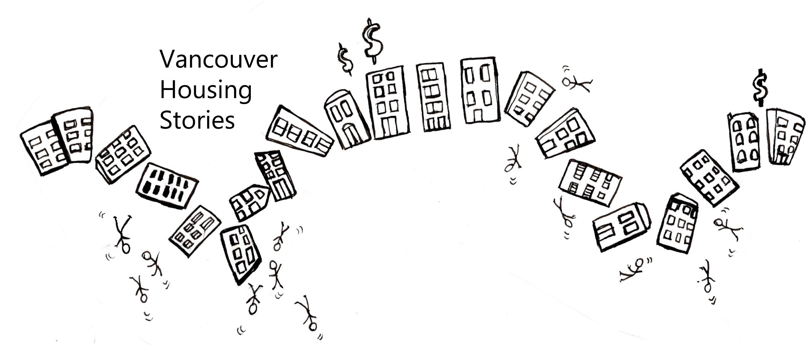 a pen drawing of a row of houses rising and falling like a rollercoaster and throwing out people while dollar signs rise above