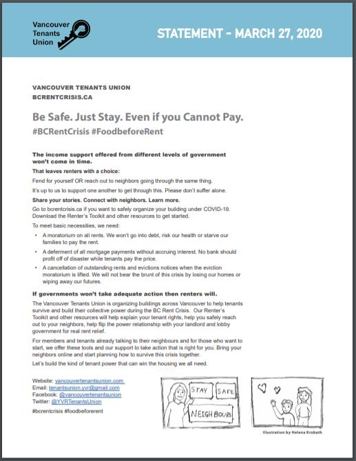 Vancouver Tenant's Union COVID-19 Campaign Statement