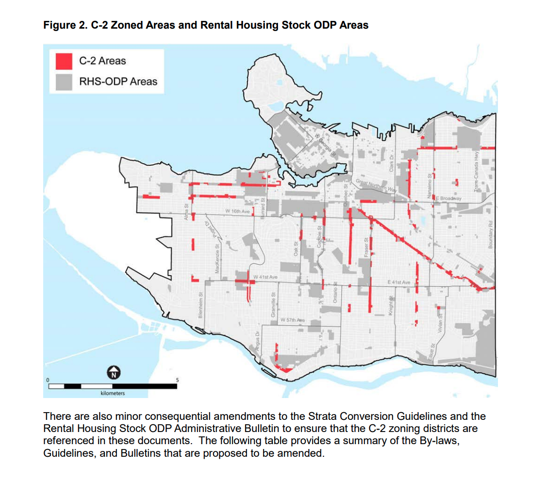 Map of Vancouver showing highlighting arterial streets in red that are zoned C2 and would affected by the policy change