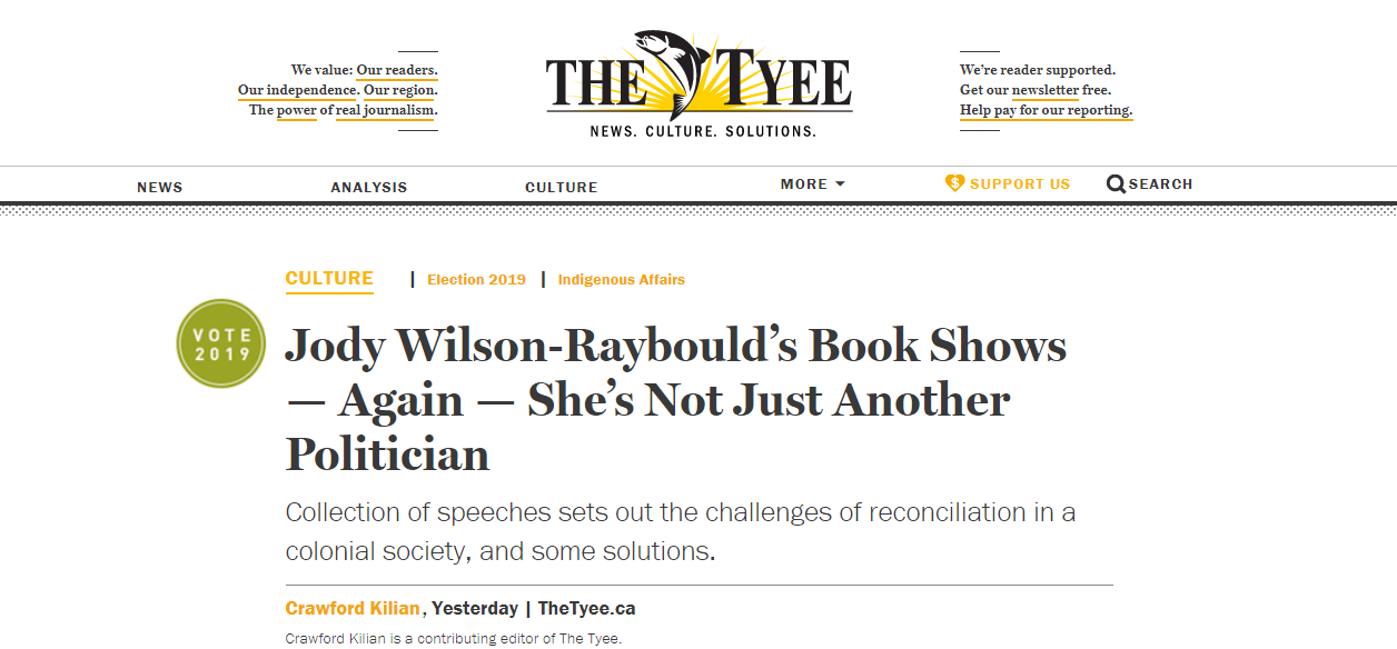 Tyee Review of Jody Wilson-Raybould's Book