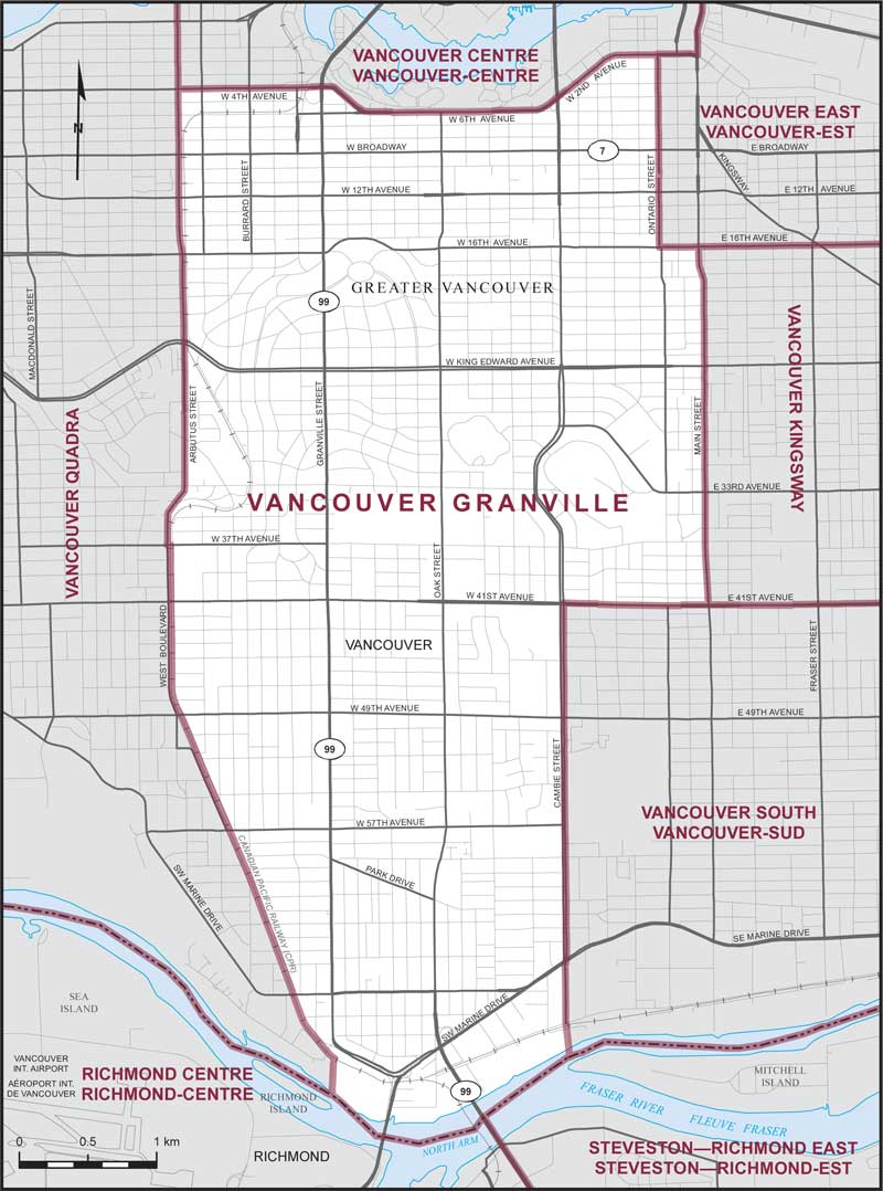Vancouver Granville Riding Map