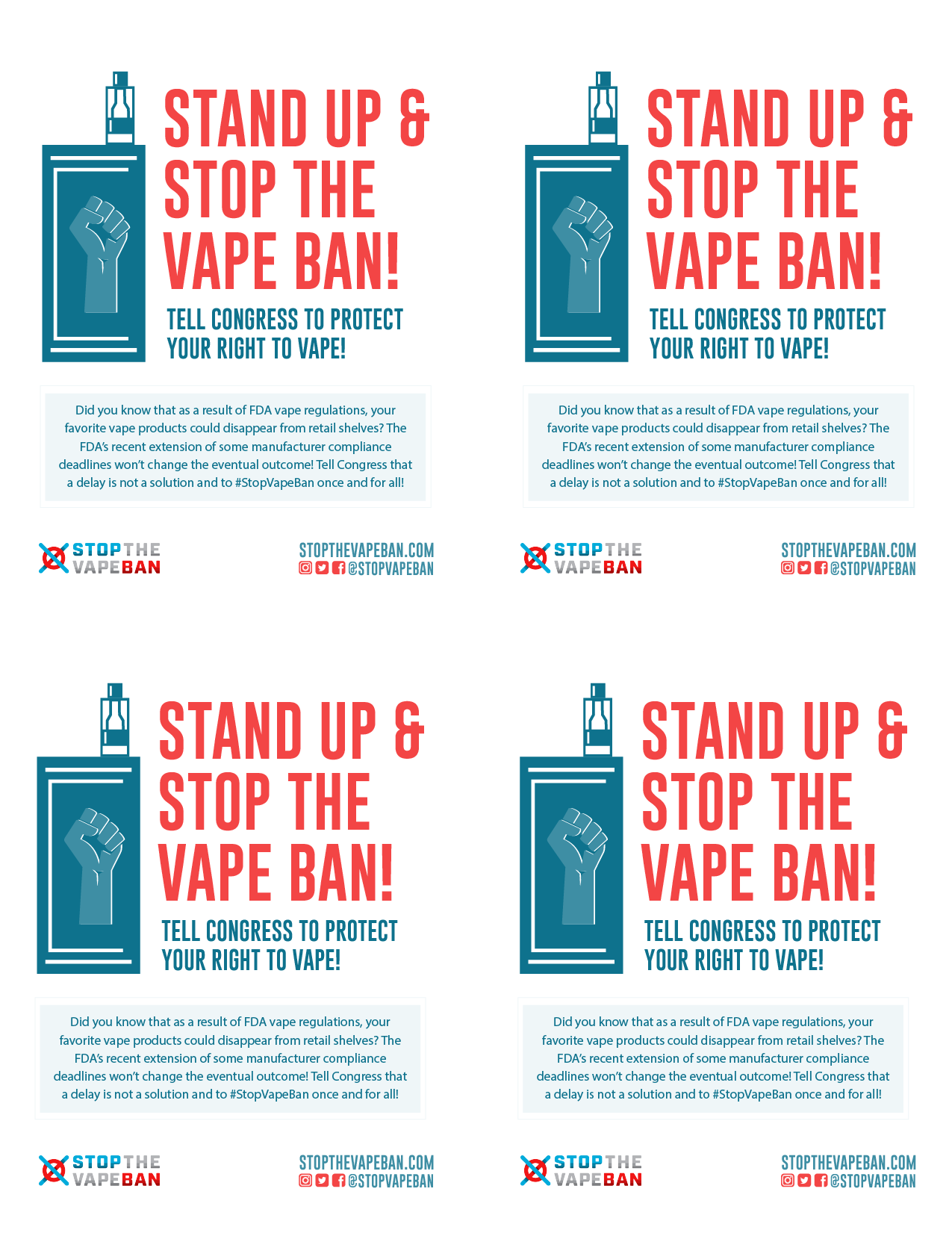 Stop the Vape Ban Posters: Print out and hang our posters