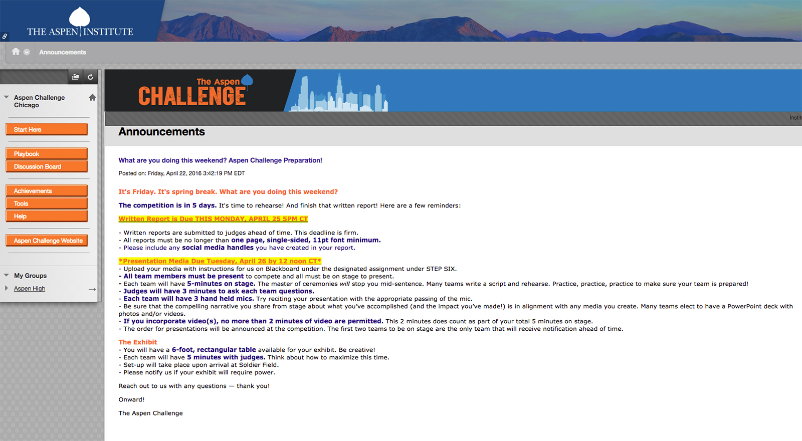 Aspen Challenge Blackboard Digital Learning Platform by Veracity Media