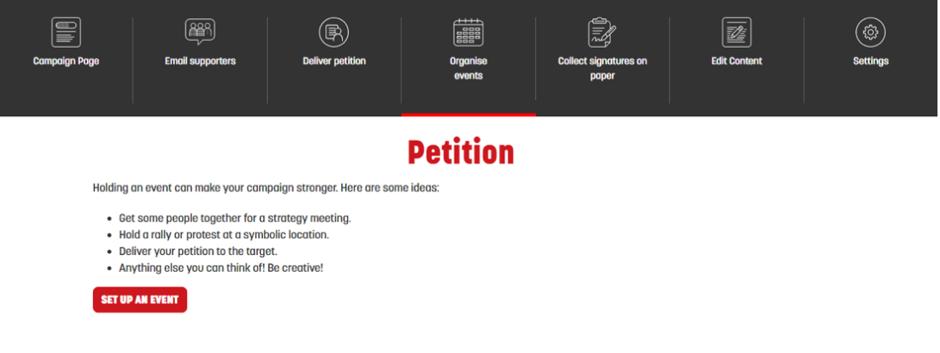 Screenshot of where to create an event on Megaphone's website
