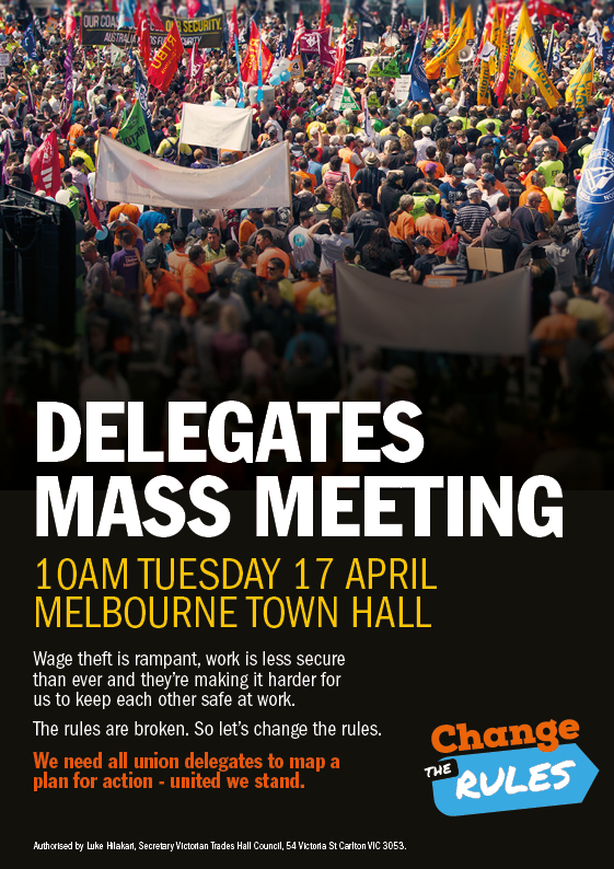 Change The Rules Mass Meeting flyer