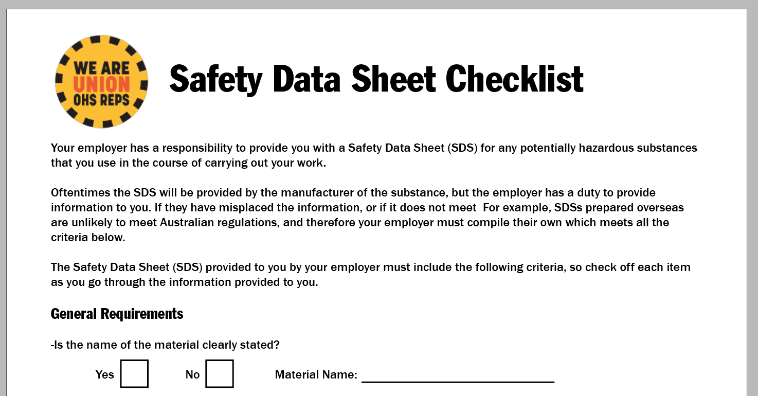 Material Safety Data Sheets Ohs Reps