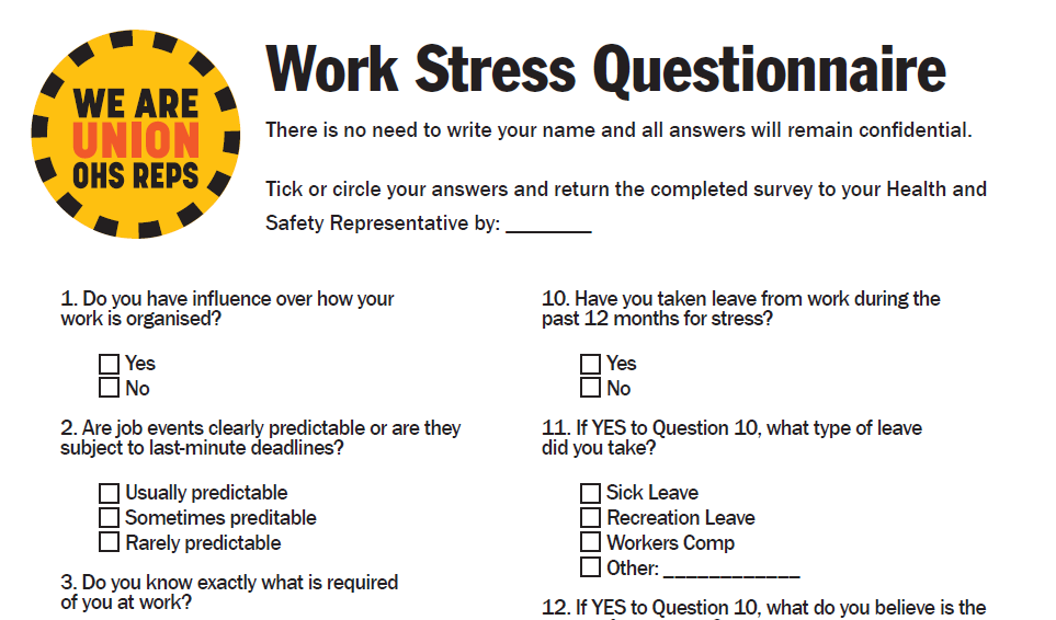 Stress Action Plan for Reps - OHS Reps