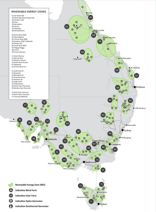 Identified candidate Renewable Energy Zones (REZs) © AEMO 2020.