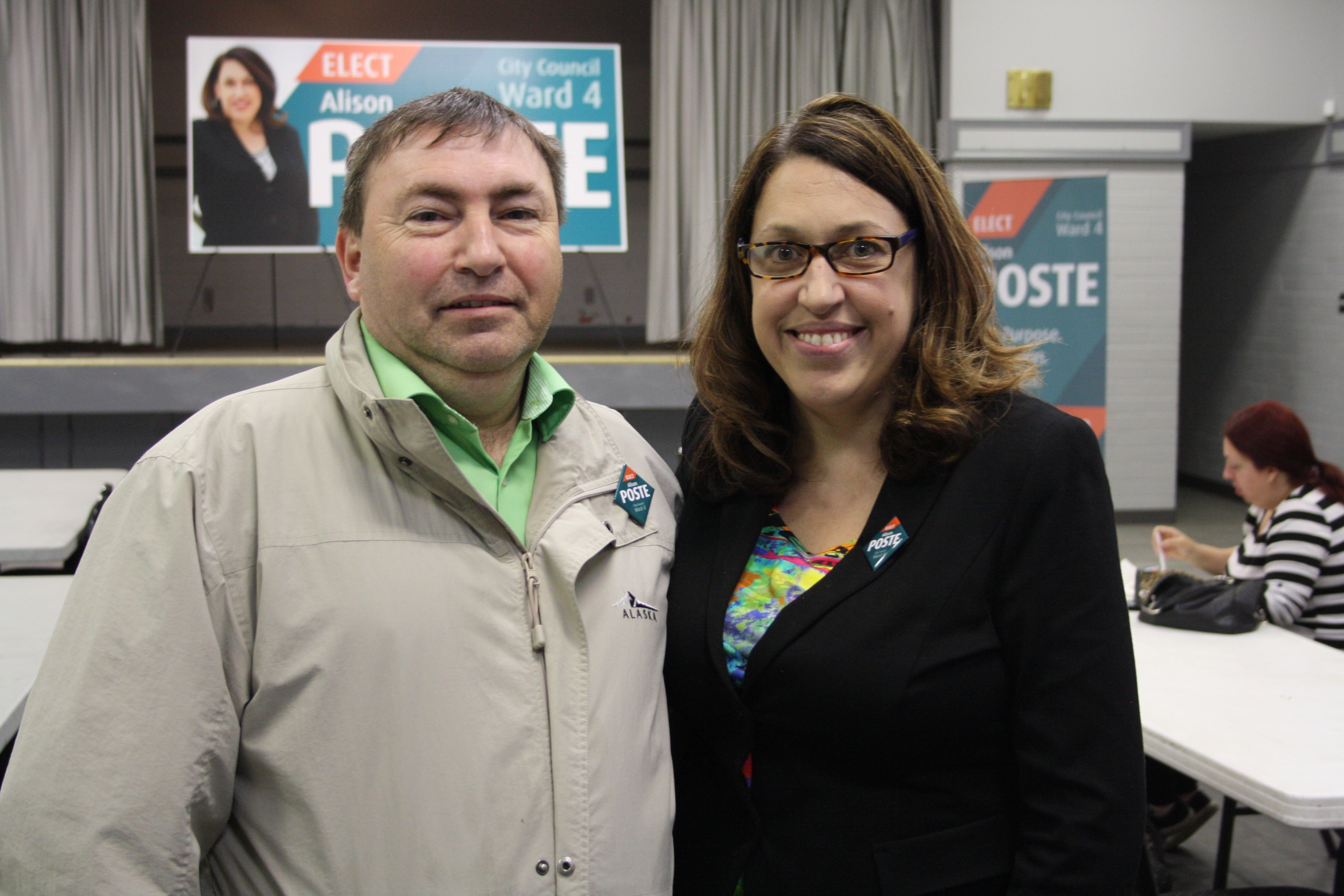 Belvedere Community League President, Ray Walmsley with Alison Poste