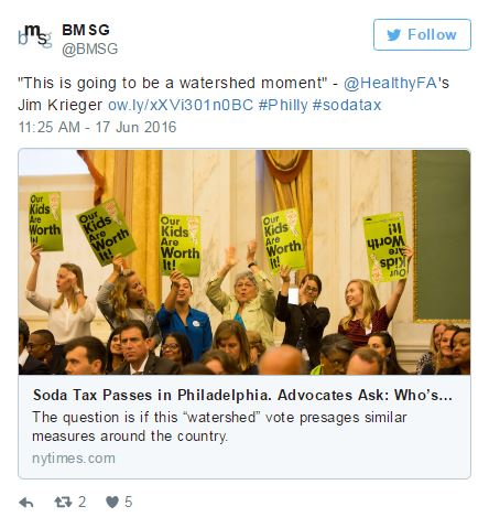 Tweet of the Week: Reflecting on Philly's Sugary Drink Tax Win