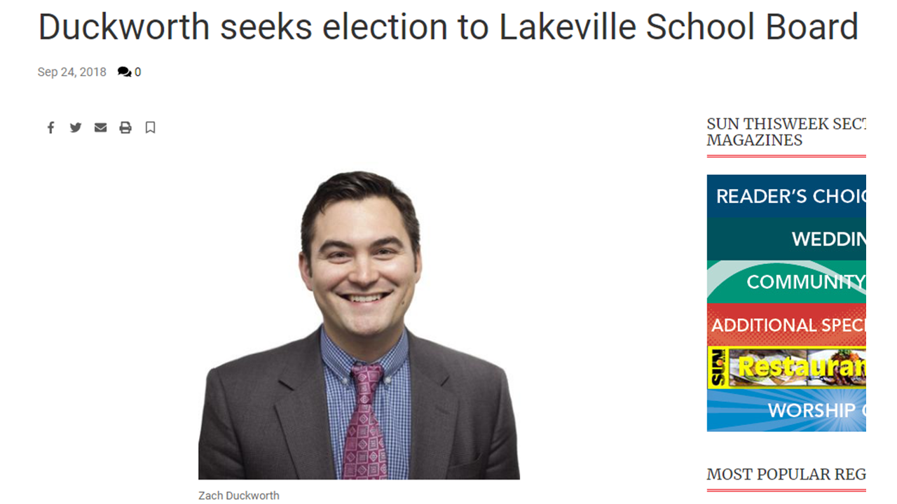 Zach Duckworth Runs For Lakeville School Board