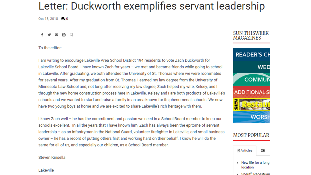 Duckworth Exemplifies Servant Leadership