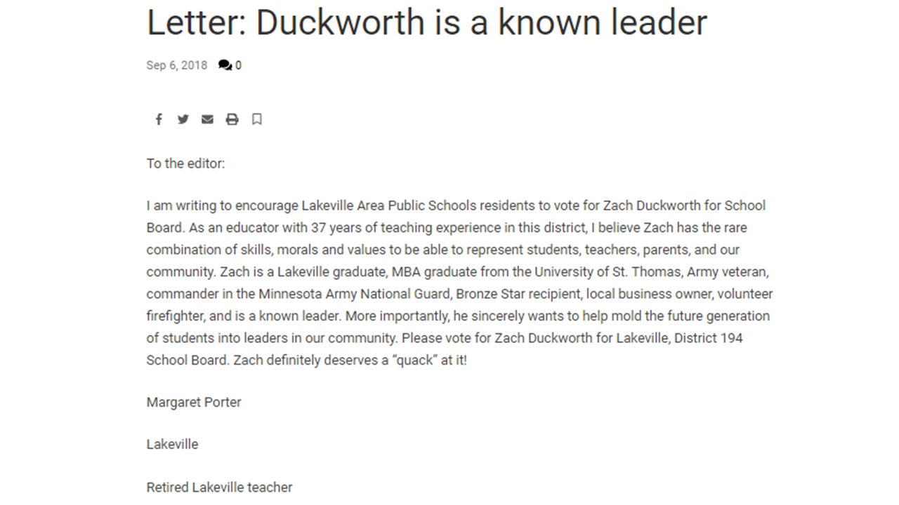 Duckworth is a Known Leader