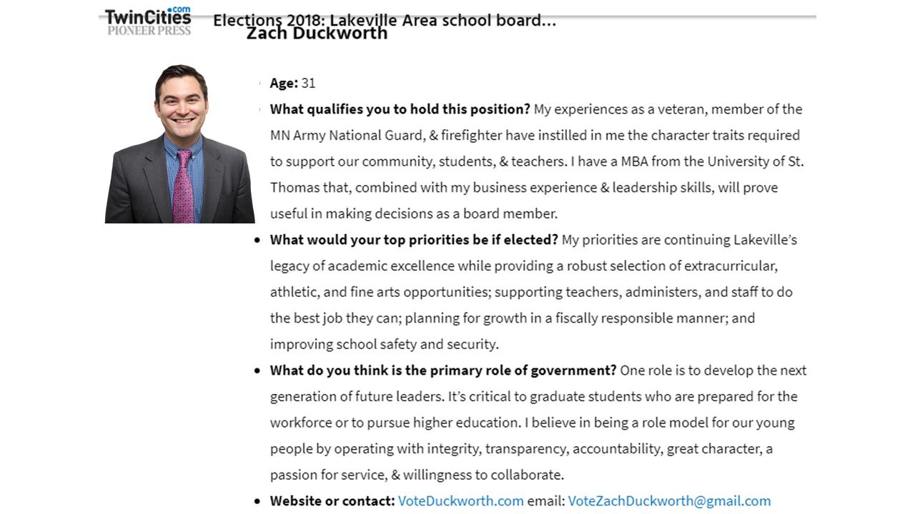 Vote Duckworth For Lakeville School Board