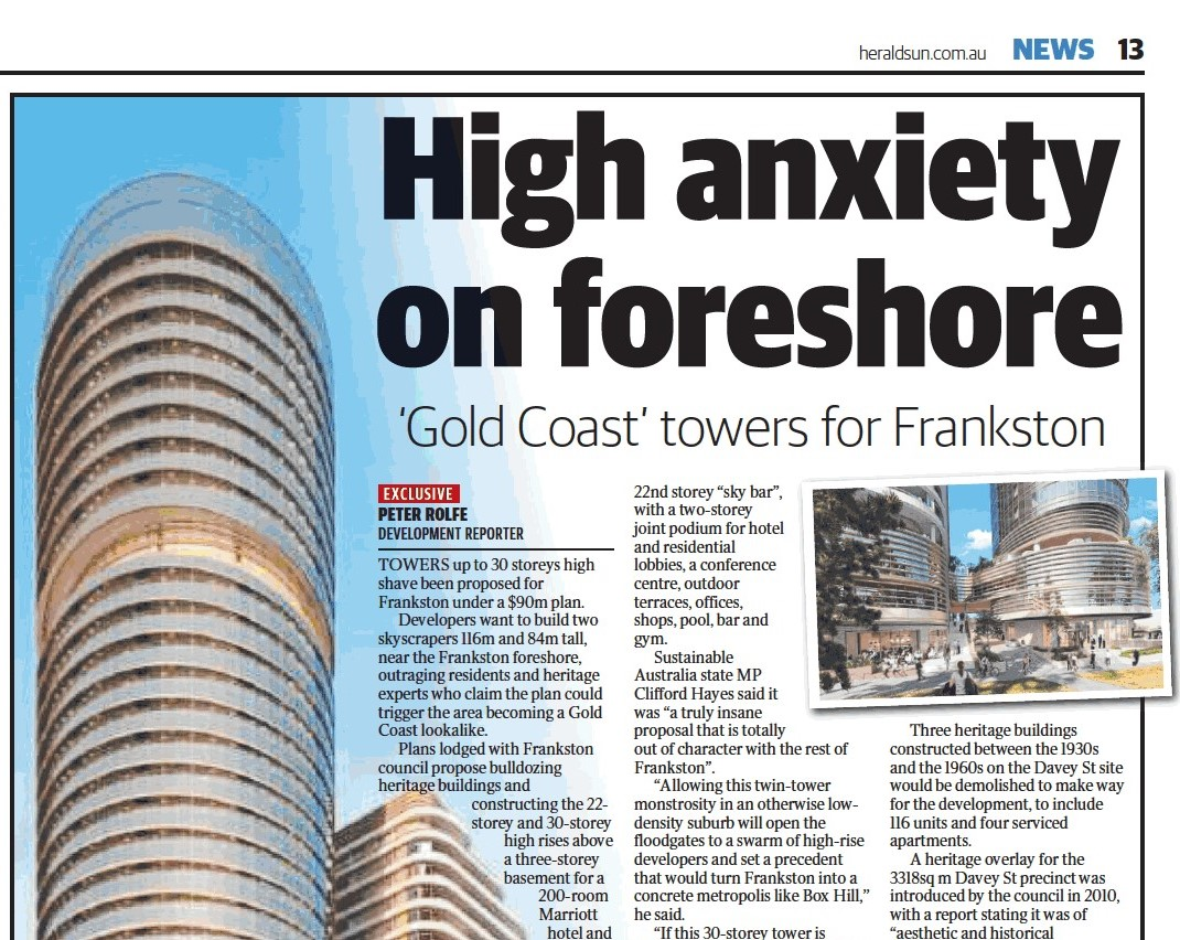 MEDIA: Herald Sun - Gold Coast-inspired tower plan for Frankston slammed by SAP's Clifford Hayes MP