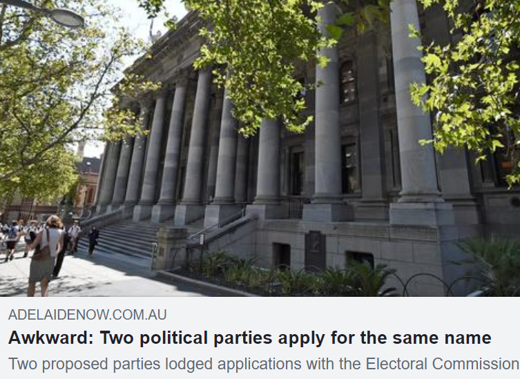 """MEDIA: The Advertiser - Sustainable Australia Party seeking to register its SA branch as the """"SA Party"""""""