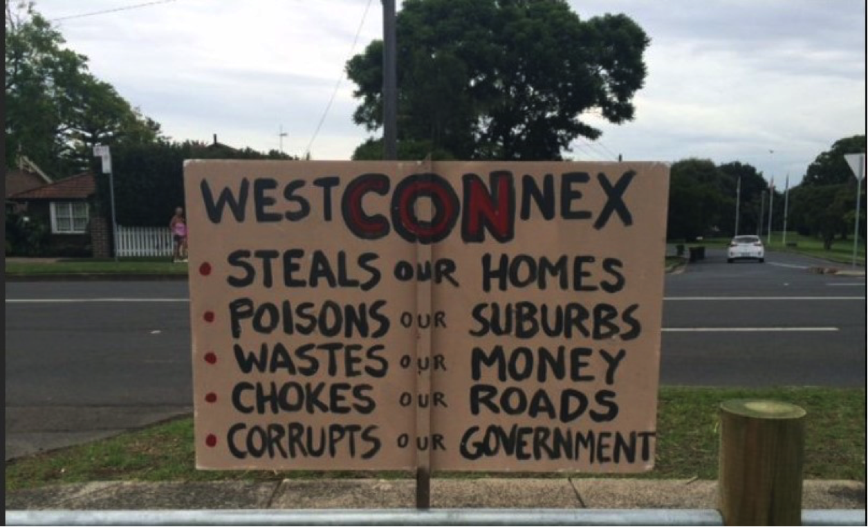 WestConnex protest sign