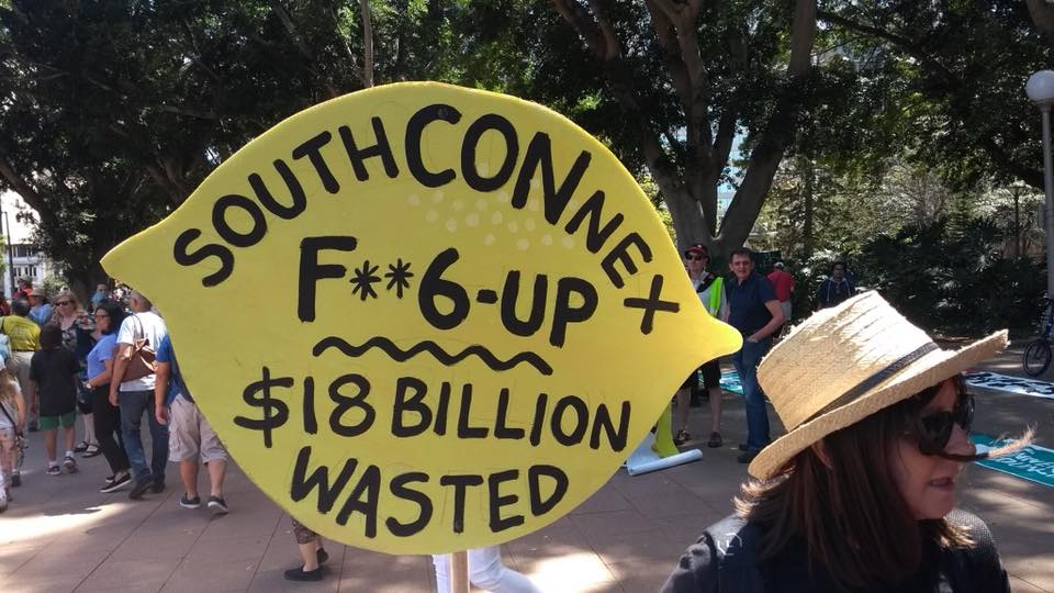 SouthConnex is an $18 billion lemon protest sign