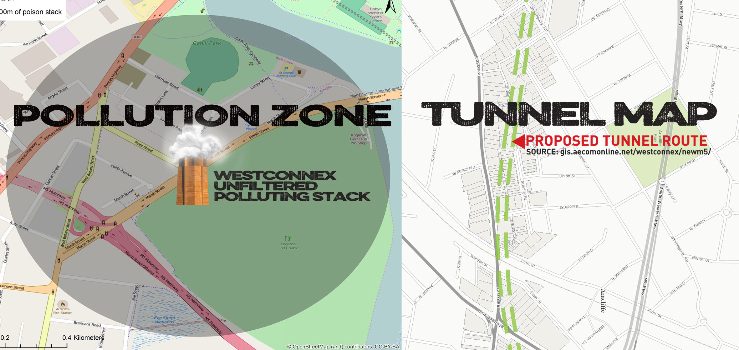 Pollution and tunnel maps