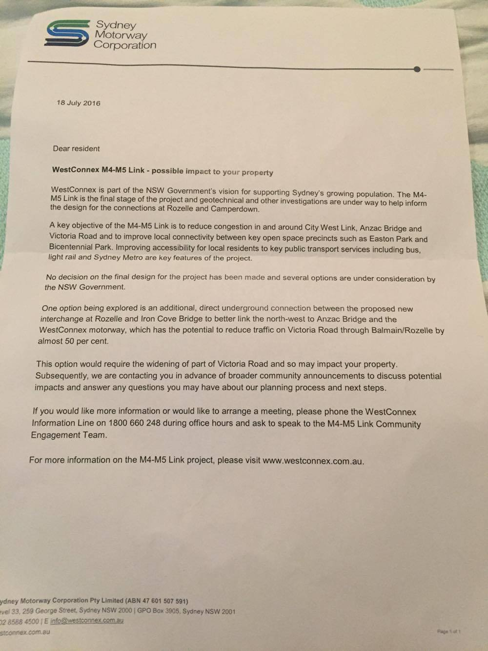 Rozelle letters distributed on 18 July 2016