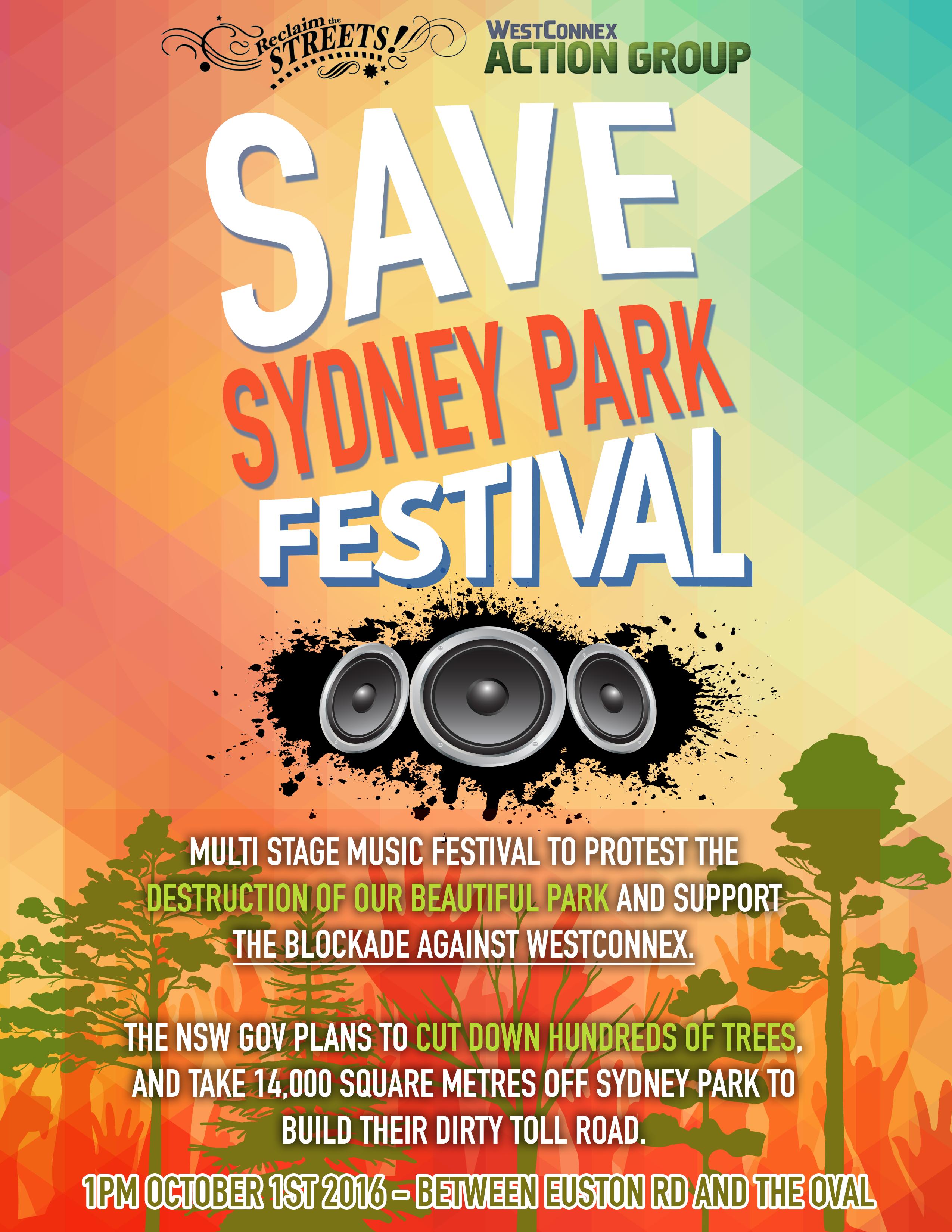 Save Sydney Park Festival poster