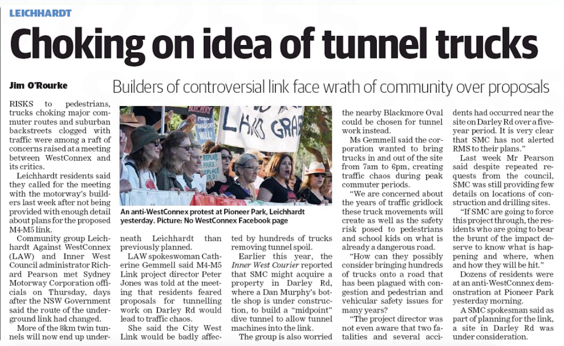 Inner West Courier story on LAW meeting