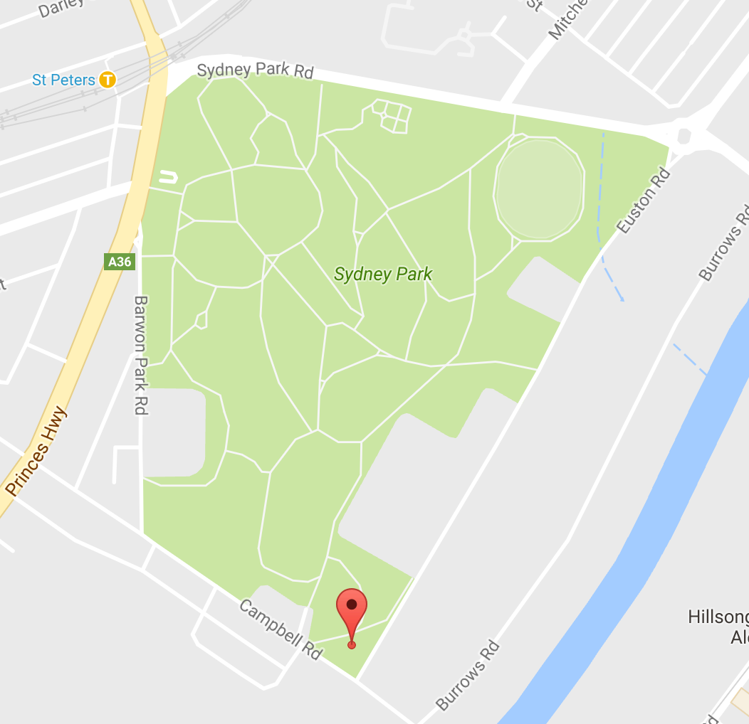 Map of Sydney Park and camp location