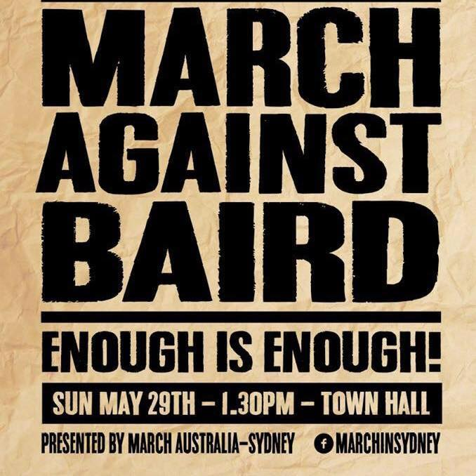 March Against Baird poster