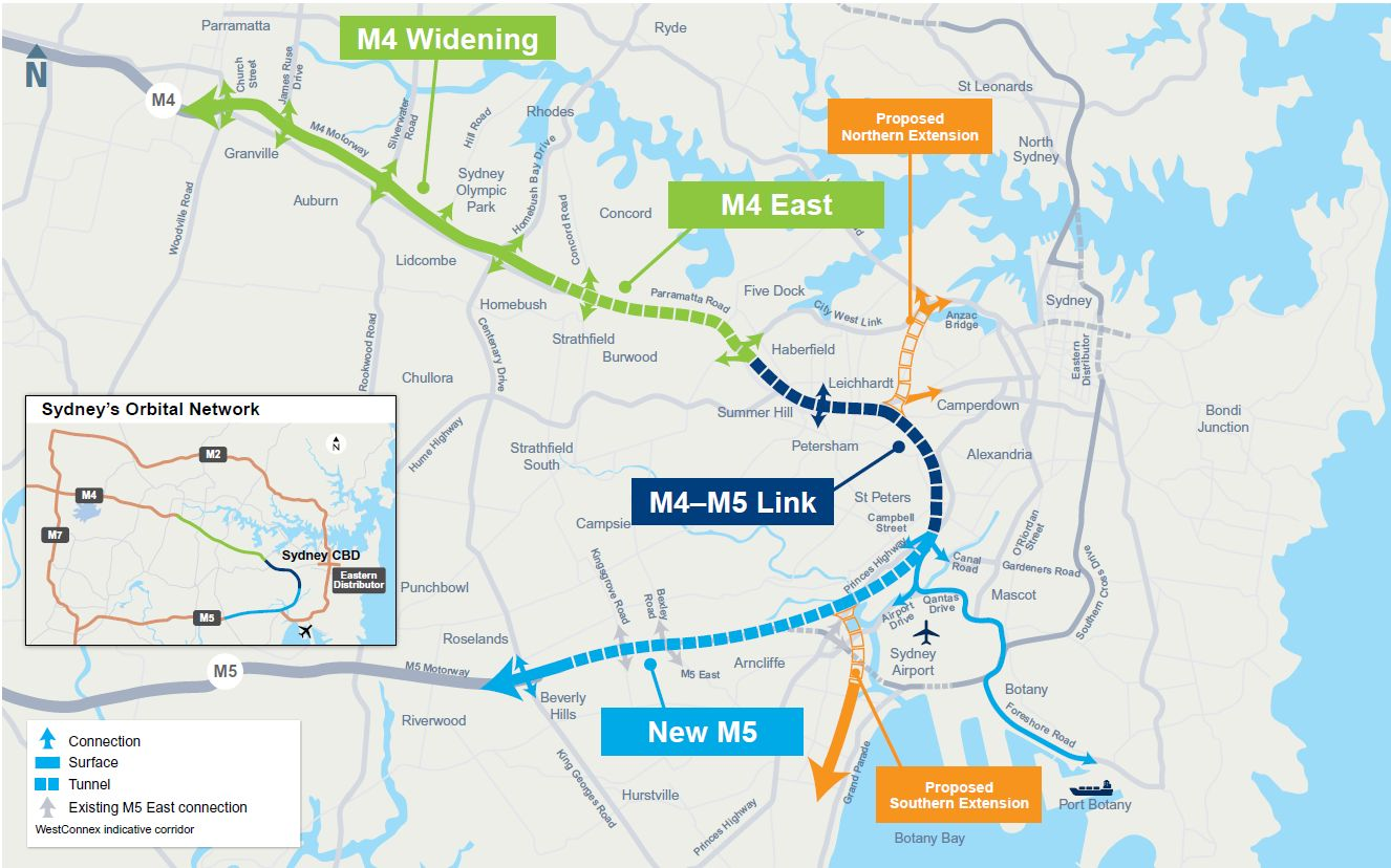WestCONnex map