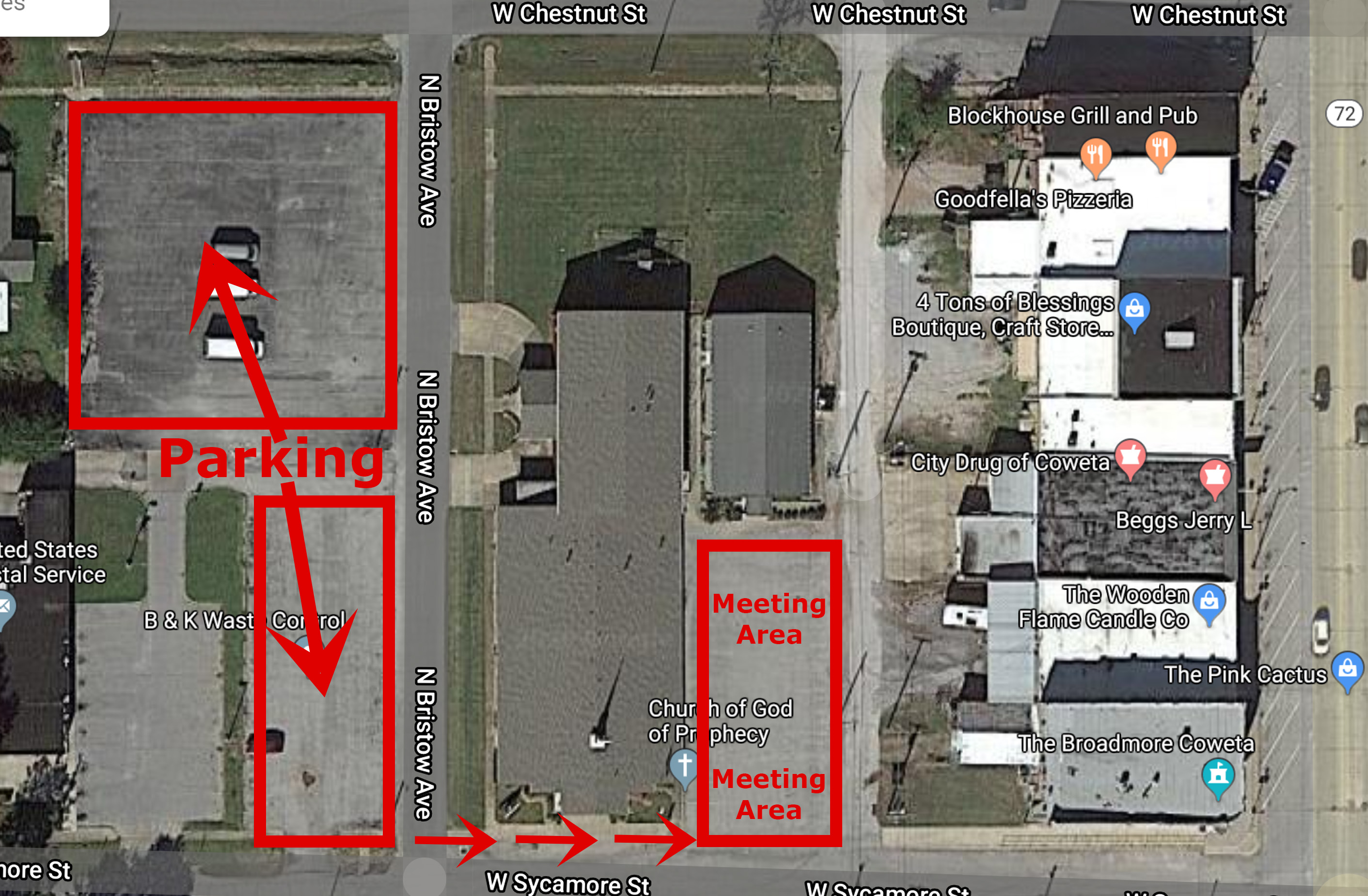 Church Map for Meeting in Parking Lot