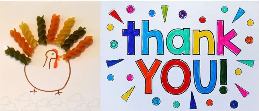 Macaroni turkey and thank you in colorful letters