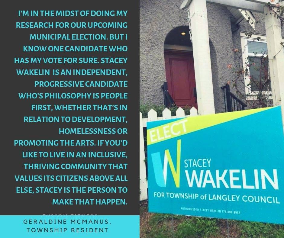 Endorsement by Geraldine McManus, Township resident