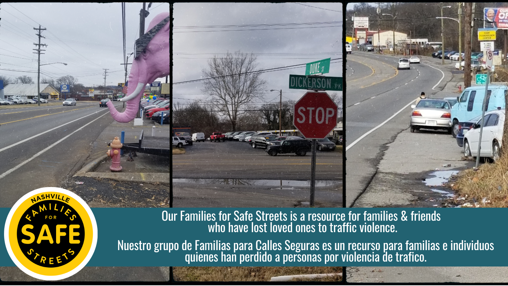 Three distinct images of streets that lack sidewalks and or pedestrian infrastructure.