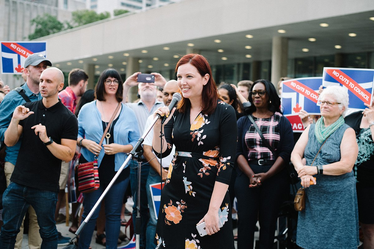 Jennifer speaks at the No Cuts to Council Protest