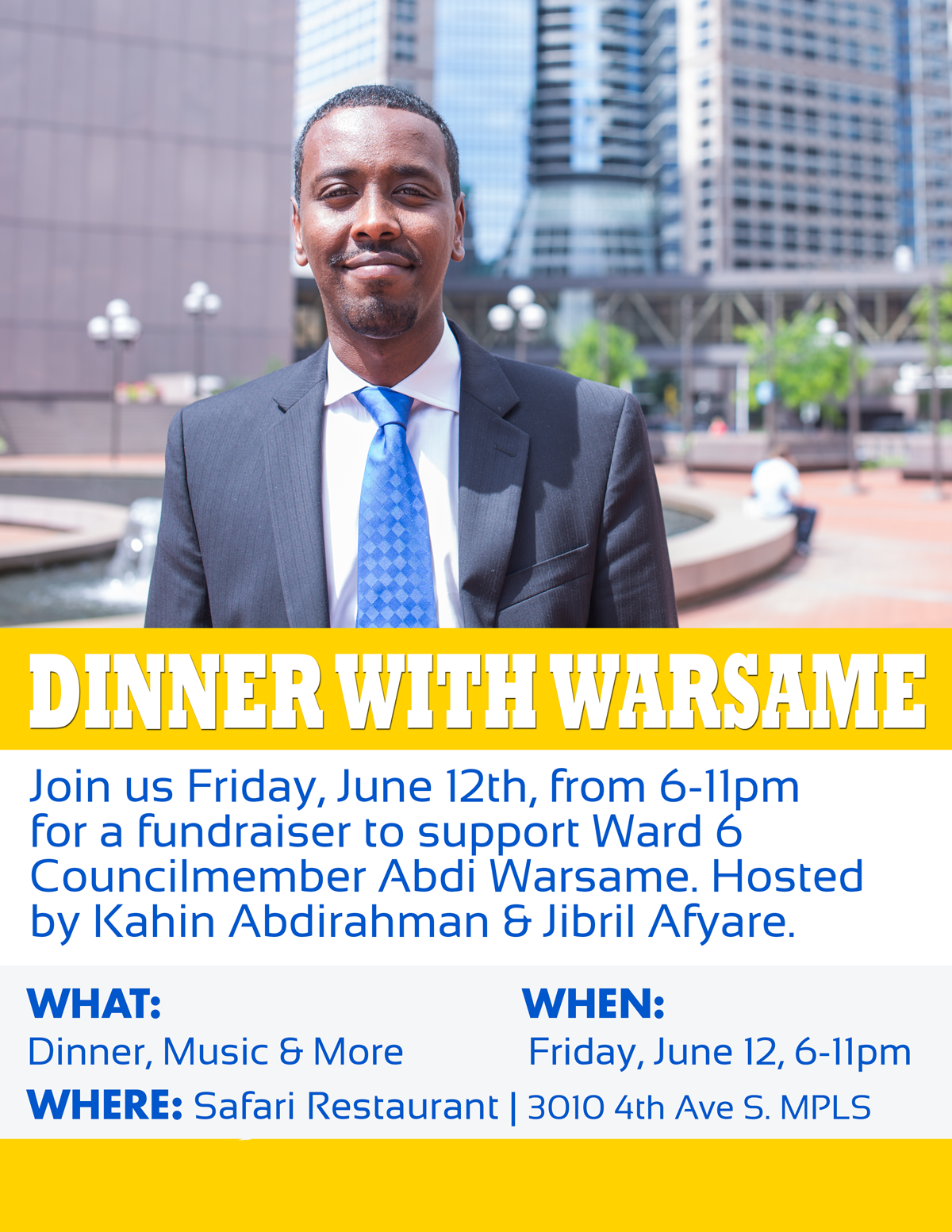 Dinner with CM Warsame Fundraiser