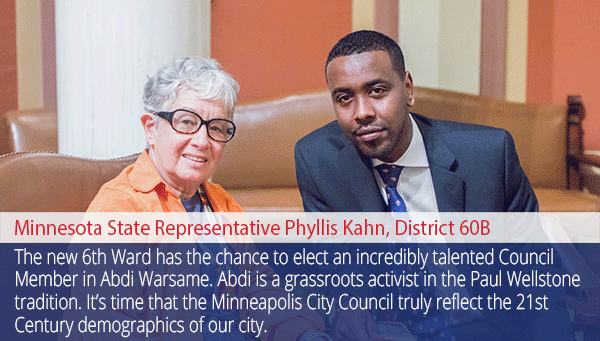 Endorsement from Rep Phyllis Kahn