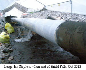 Trans Mountain pipeline repair near Bridal Falls