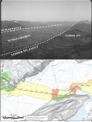 Vedder Mt fault & Trans Mountain pipeline route/liquefaction zones