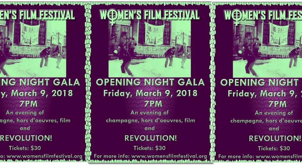 womens film fest banner with dates and times of the event