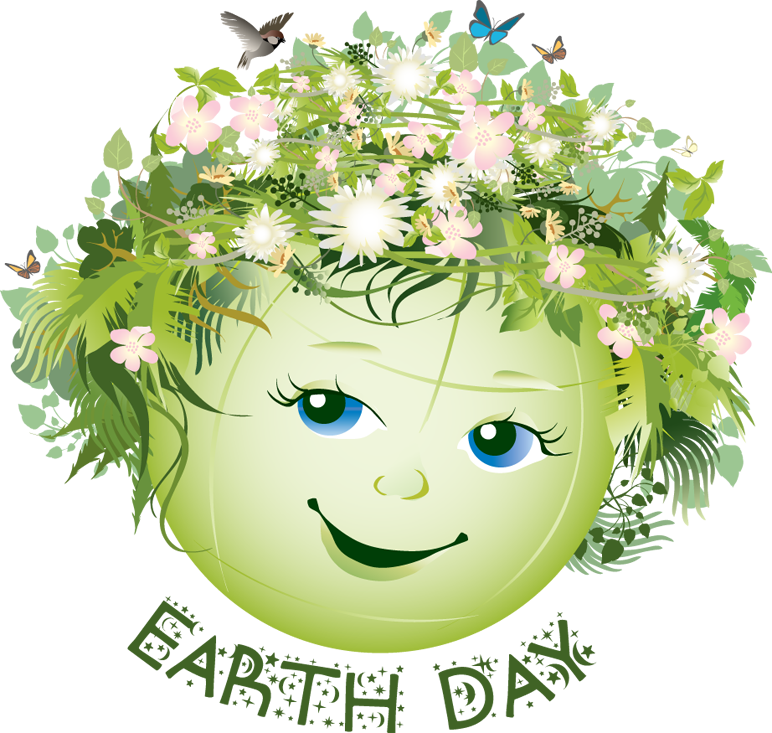 cartoon drawing of the earth as a female with flowers in her hair