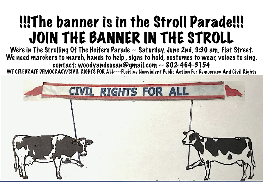 cows on parade with civil rights for all banner