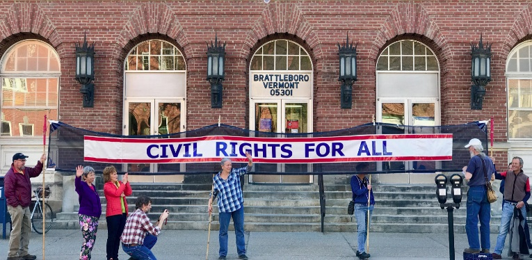 Civil Rights Banner in front of the Bratt Post Office