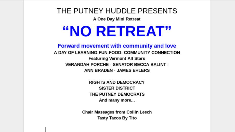No Retreat Putney Huddle Informational Postcard
