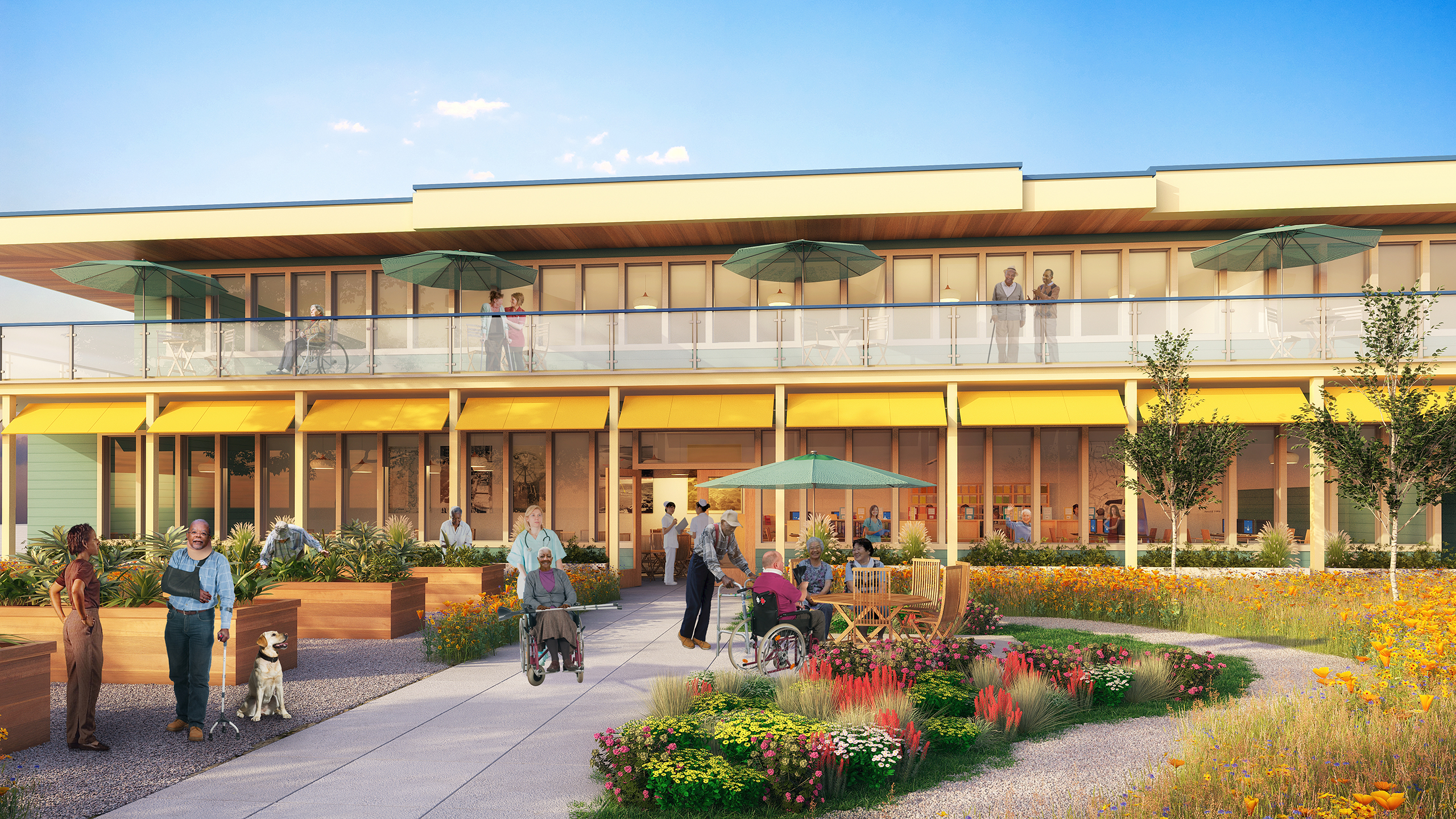 An artist's rendition of the Alameda Wellness Center's garden