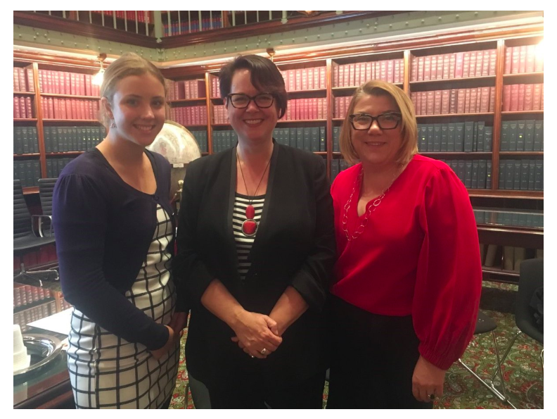 Heidi at NSW Parliament House with The Hon. Penny Sharpe MLC, and WEL NSW Executive Member, Jenny Muir.