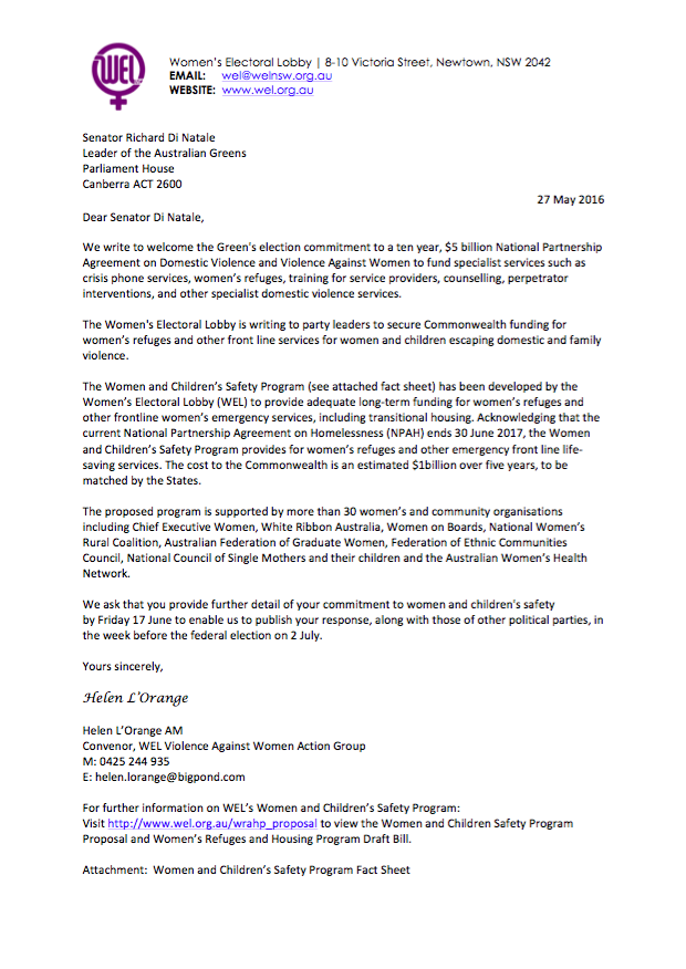 WEL's Letter to Richard Di Natale