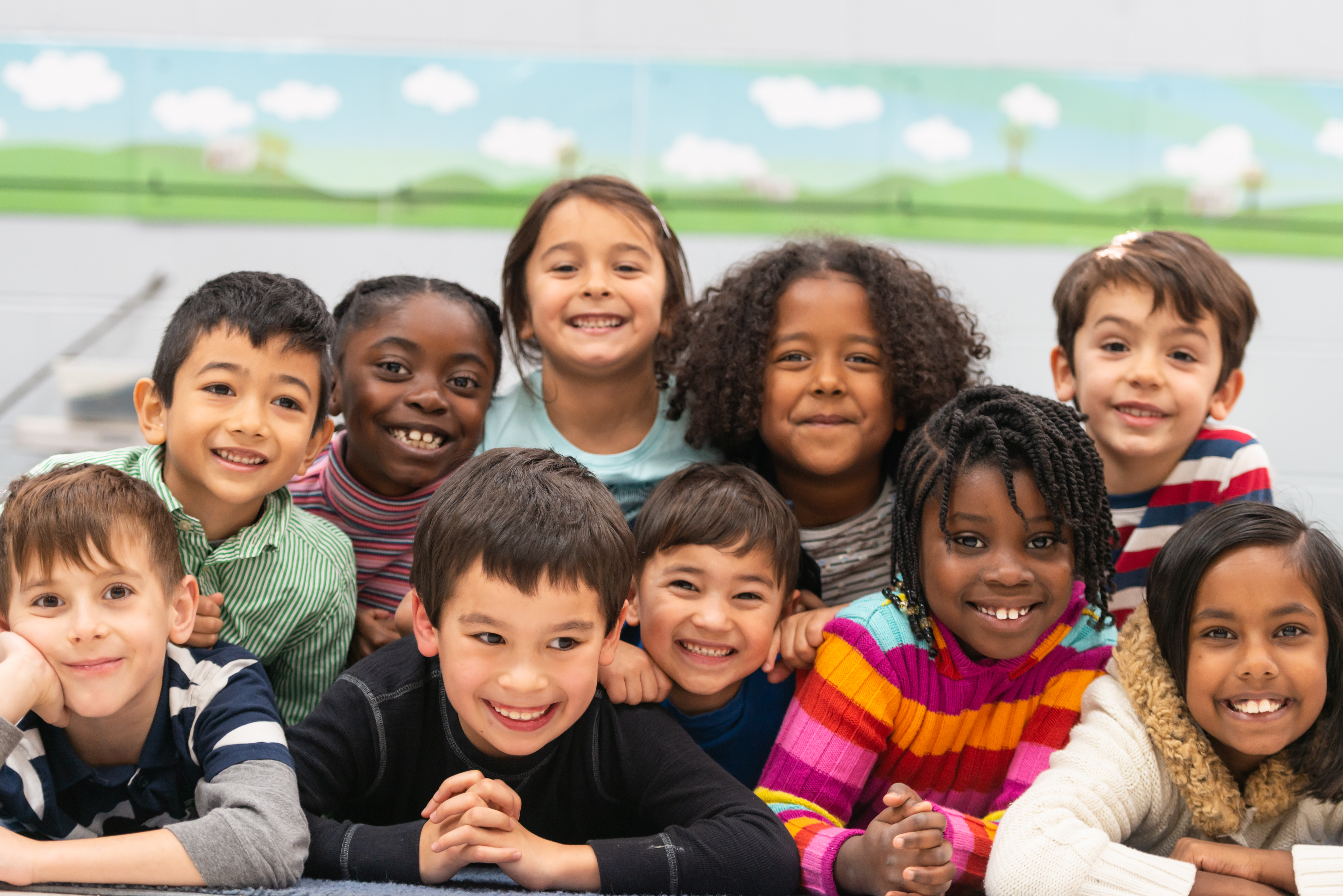 Group of multi ethnic children