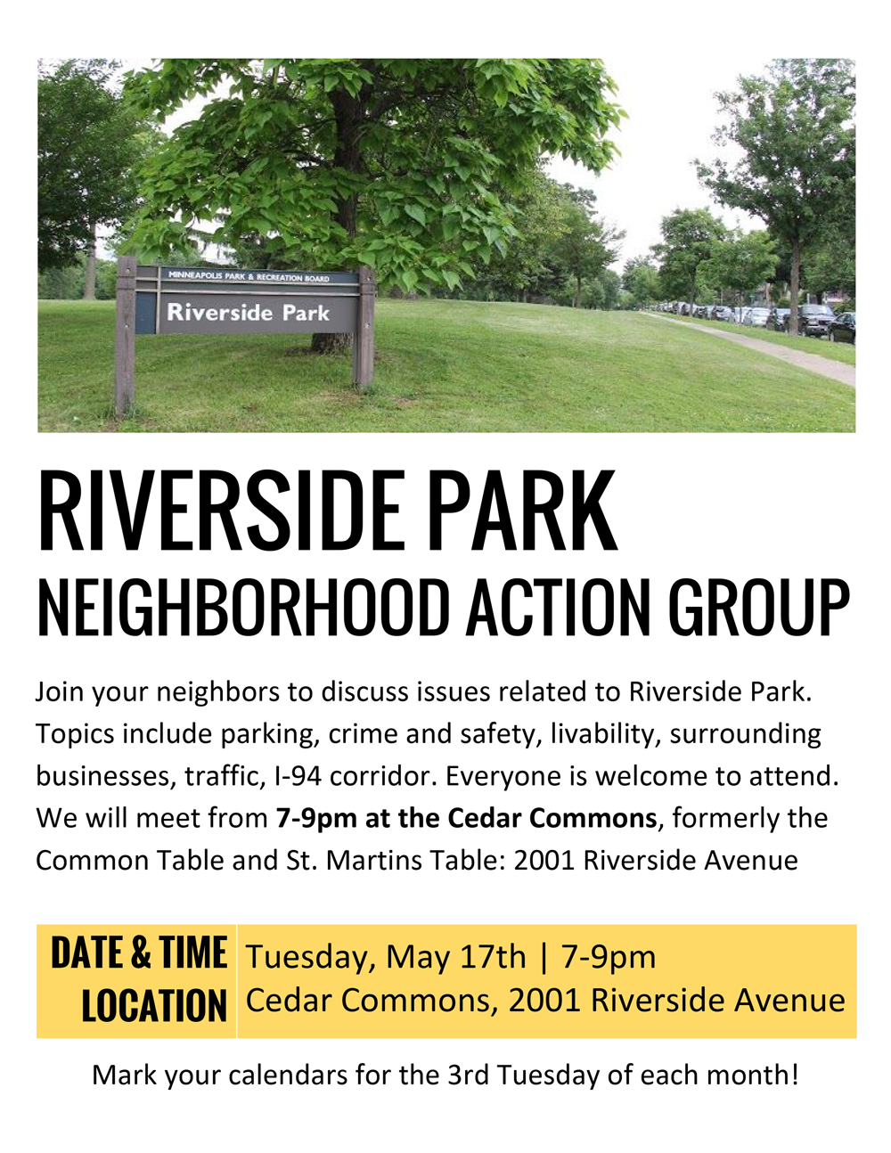 Riverside Park Neighborhood Action Group Flyer