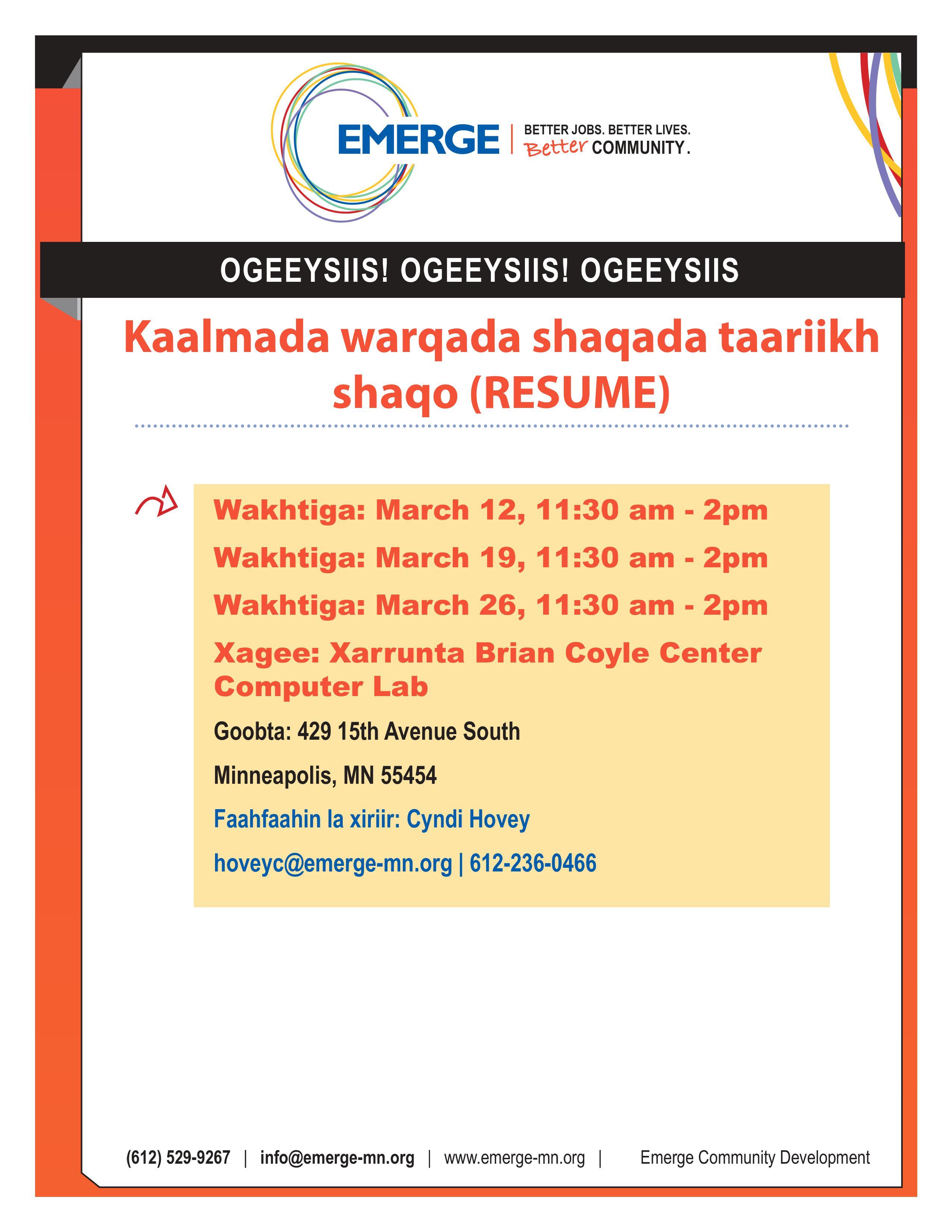 Resume Workshop Somali Flyer